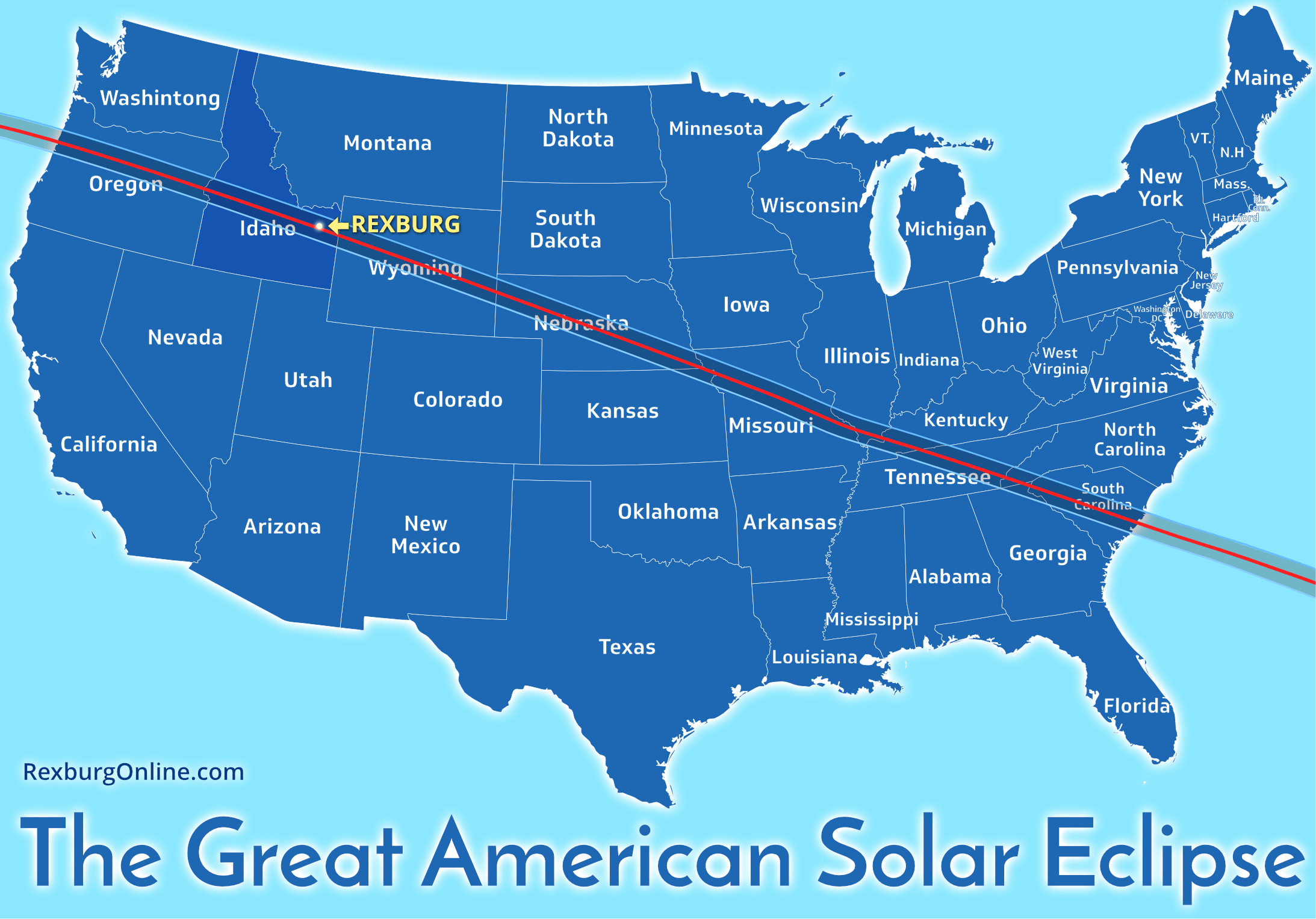 Map the the Great American Solar Eclipse